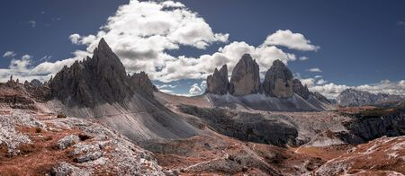 Panorama of Tre Cime peaks in Dolomites, Italy