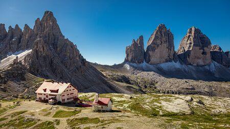 Panorama of Tre Cime di Lavaredo and Dreizinnen hut, Dolomites