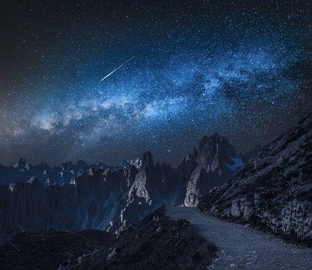 Milky way over mountain path to Tre Cime, Dolomites
