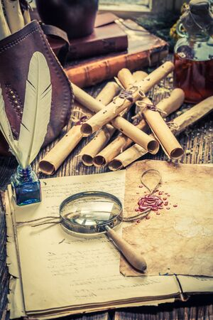 Witcher labolatory full of old scrolls and recipe Stock Photo
