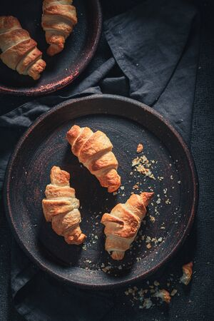 Traditionally croissants with sweet and melting chocolate