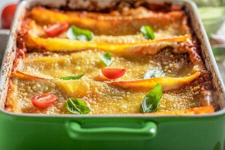 Homemade lasagna with bolognese, parmesan and basil