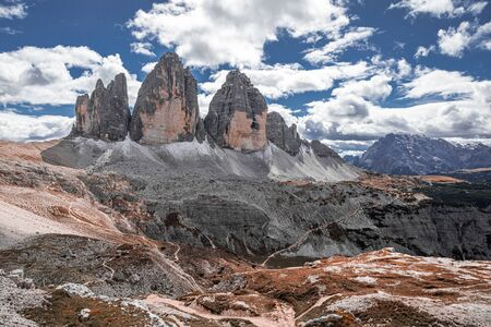 Stunning view to Tre Cime peaks in Dolomites, Italy Stock Photo