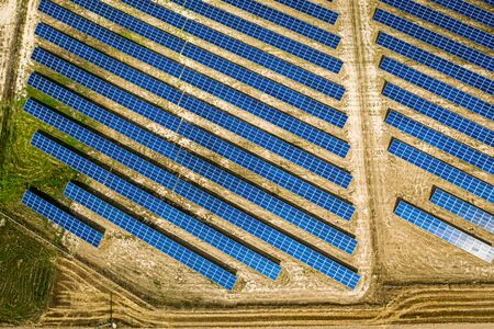 Amazing top view of solar panels in sunny day