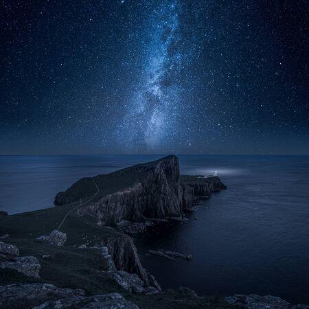 Neist point lighthouse at night, Isle of Skye, Scotland Фото со стока