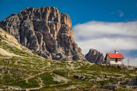 Tre Cime peaks and Chiesetta Alpina, Dolomites, Italy