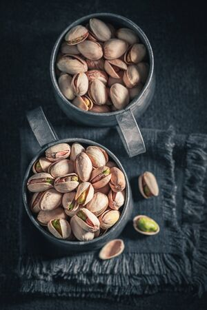 Group of pistachios as a healthy and good snack