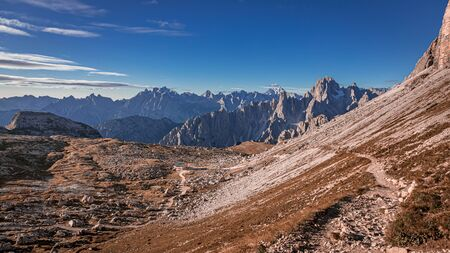 View to path to the Tre Cime peaks in Dolomites