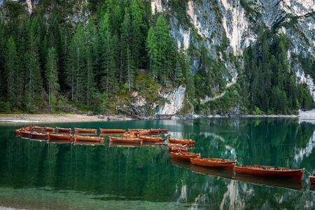 Lago di Braies and boats on lake, Dolomites