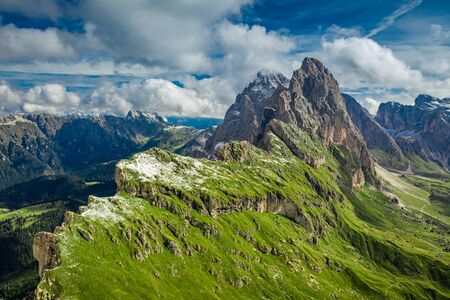Aerial view of Seceda in South Tyrol in Dolomites, Italy Stockfoto