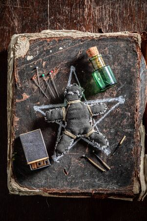 Creepy voodoo doll burned with fire as harming
