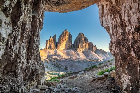 Tre Cime di Lavaredo from cave in Dolomites, Europe