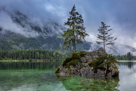 Mountain lake Hintersee in Berchtesgaden national park