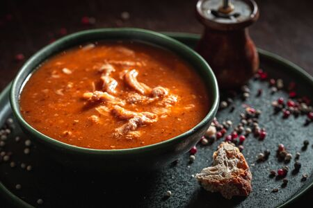 Hot tripe soup made of beef and vegetables Stock Photo