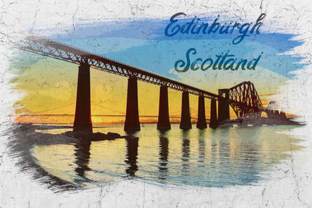 Sunset between the two bridges in Queensferry, watercolor painting Stockfoto