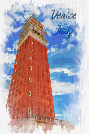 Watercolor of Bell tower on St. Mark's Square, Venice