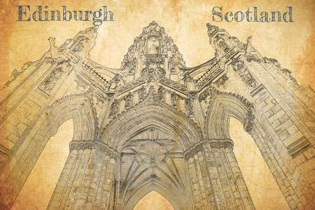 Sketch of Scott Monument in Edinburgh, Scotland Stockfoto