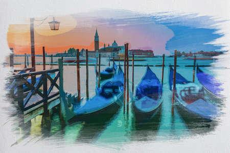 Swinging gondolas in Venice at sunrise, watercolor painting Stock fotó