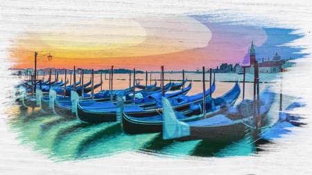 Watercolor of swinging gondolas in Venice, Italy Stock fotó