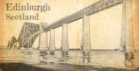 Steel railway bridge in Edinburgh, sketch on old paper