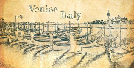 Swinging gondolas in Venice, Italy, sketch on old paper