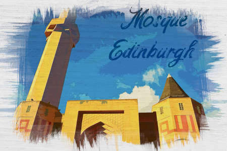 Watercolor painting of Edinburgh Central Mosque, Scotland Imagens
