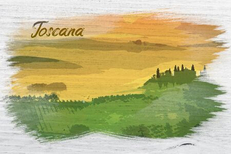 Sunrise over the green fields in Tuscany, watercolor painting