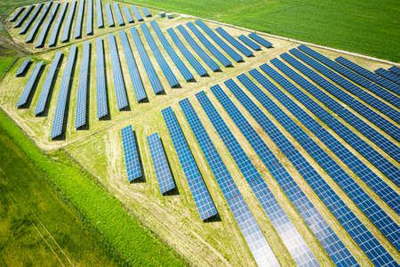 Amazing view of solar panels on green filed