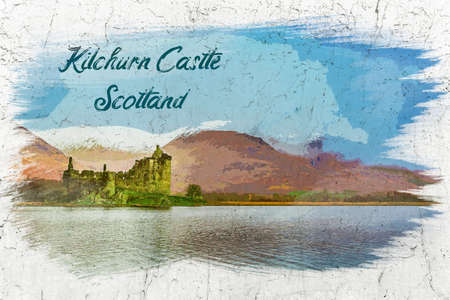 Kilchurn Castle over lake, Scotland, watercolor painting