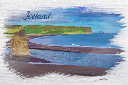 Big rock on the black beach in Iceland, watercolor painting
