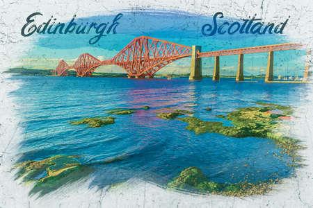 Watercolor painting of railway bridge in Edinburgh 版權商用圖片