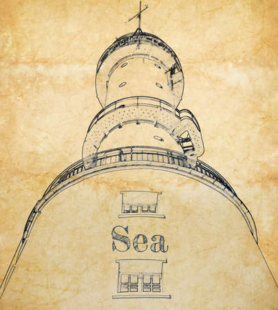 Sketch of big lighthouse on old paper