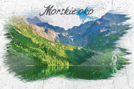 Mountain lake in Tatra mountains, watercolor painting