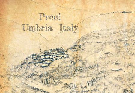 Sketch of village Preci in Umbria, Italy 版權商用圖片