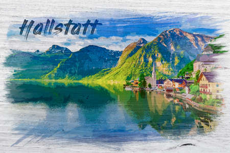 Watercolor painting of Hallstatt in Austria, Europe 版權商用圖片
