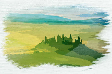 Watercolor painting of sunrise in San Quirico d'Orcia, Tuscany, Italy