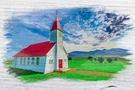 Small church in Iceland mountain, watercolor painting