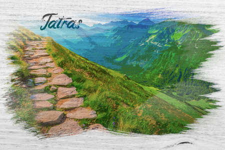 Footpath in the Tatras Mountains, Poland, watercolor painting