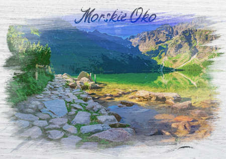 Watercolor painting of famous lake in Tatra mountains
