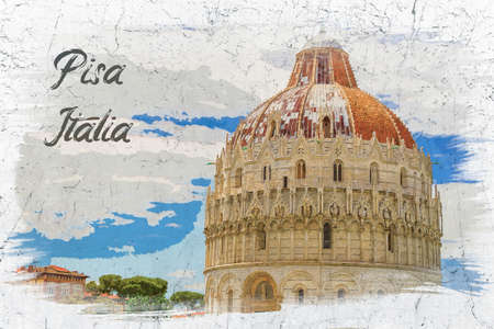 Watercolor paiting of ancient cathedral in Pisa, Italy