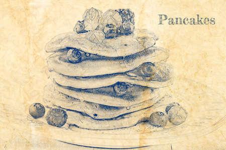 Sketch of american pancakes with berries on old paper 版權商用圖片