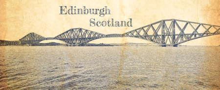 Sketch of railway bridge in Edinburgh on old paper