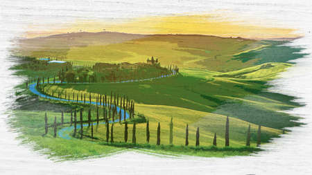 Sunset over the winding road with cypresses, Tuscany, watercolor painting 版權商用圖片