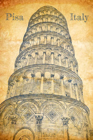 Leaning Tower of Pisa, sketch on old paper
