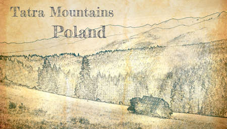 Wooden cottage in Tatra mountains, sketch on old paper 版權商用圖片