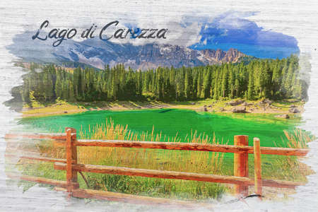 Watercolor painting of Carezza lake in summer, Dolomites, Italy