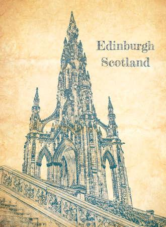 Sketch of Scott Monument in Edinburgh on old paper