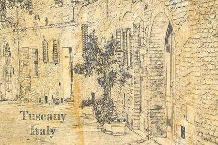 Sketch of vintage street on old paper, Italy