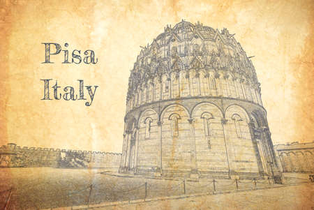 Sketch of Cathedral in Pisa on old paper, Italy 版權商用圖片