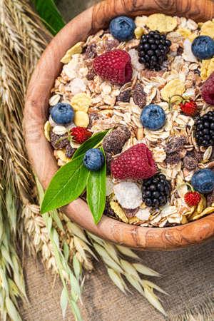 Breakfast with granola, milk and fresh berry fruits 版權商用圖片